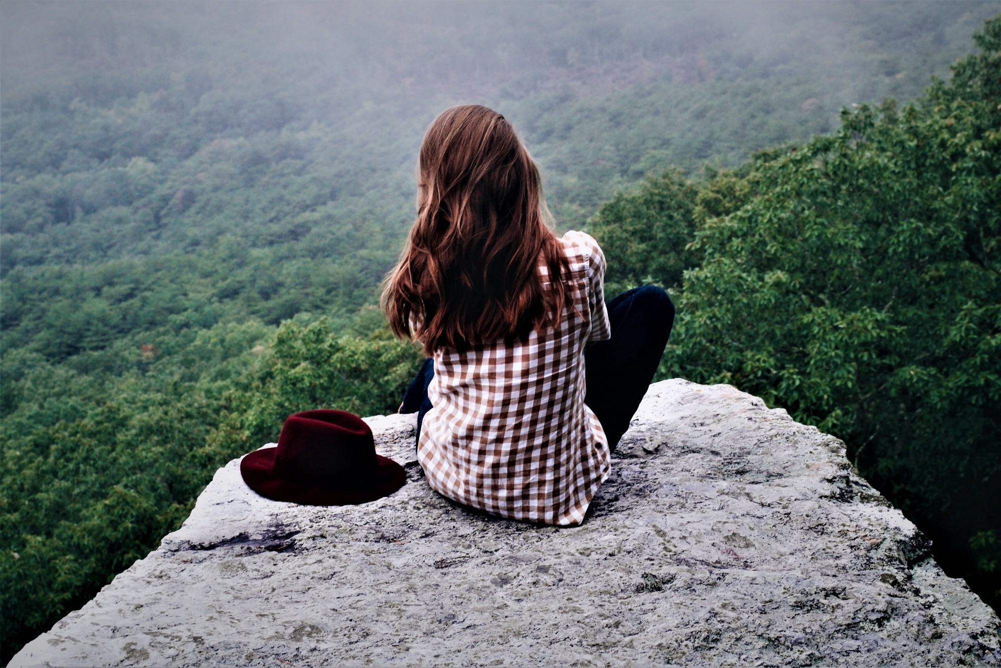 girl with long brown hair wearing red and white checked top sitting on boulder looking out over green valley
