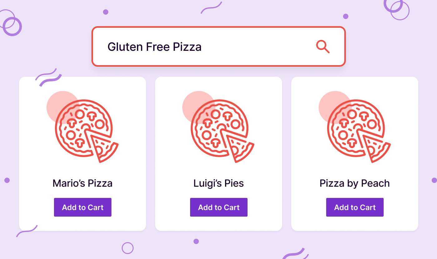 "A stylized search for ""gluten-free pizza"" with results showing ""Mario's Pizza,"" ""Luigis Pies,"" and ""Pizza by Peach"""