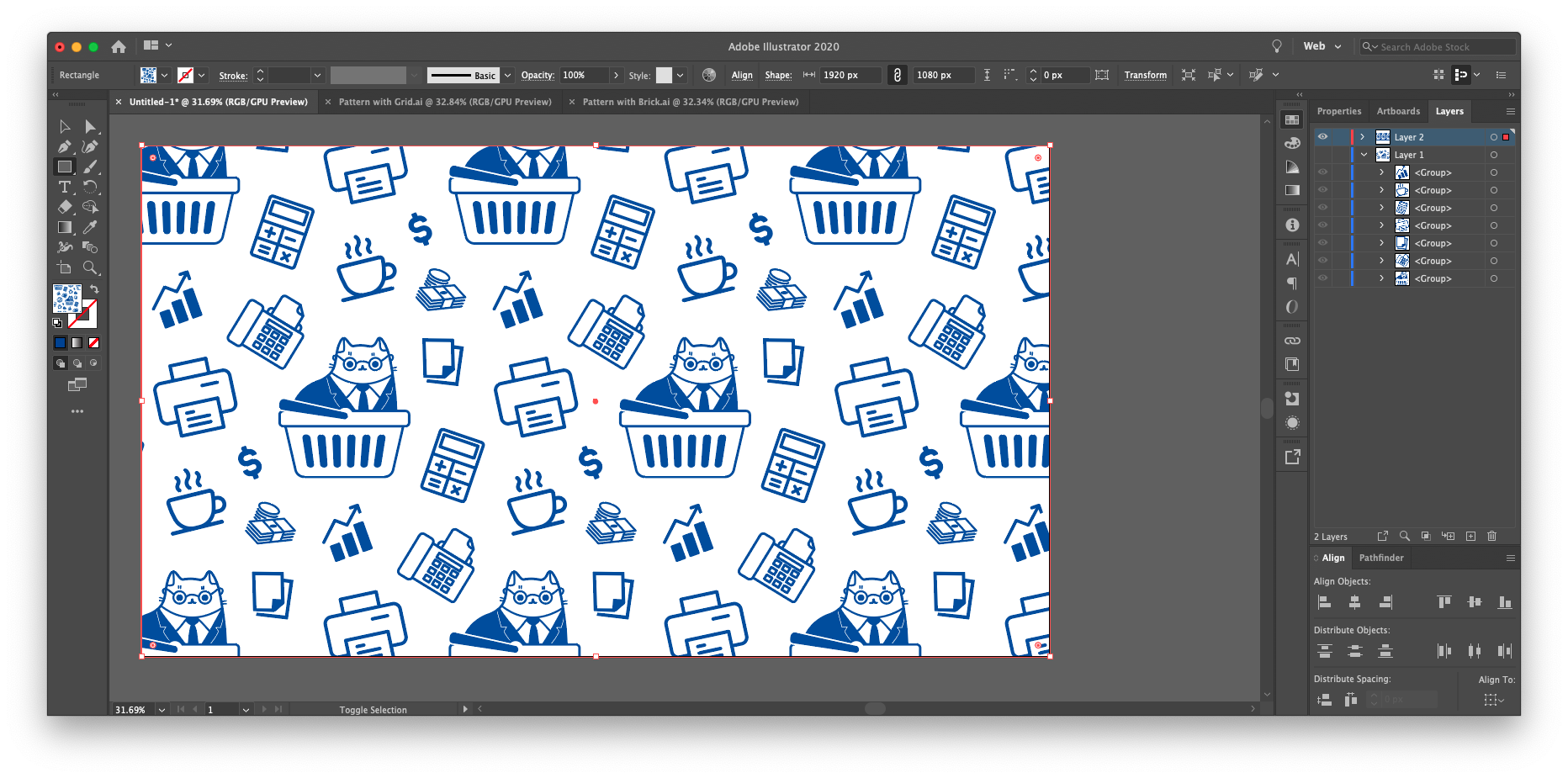 How to make your new pattern visible in Illustrator: once you've finished editing your pattern, it can be saved as a Swatch, which can then be used as a fill (the same way you would fill a rectangle with a solid color). Create a shape such as a rectangle that spans the artboard and fill it with your repeating pattern.