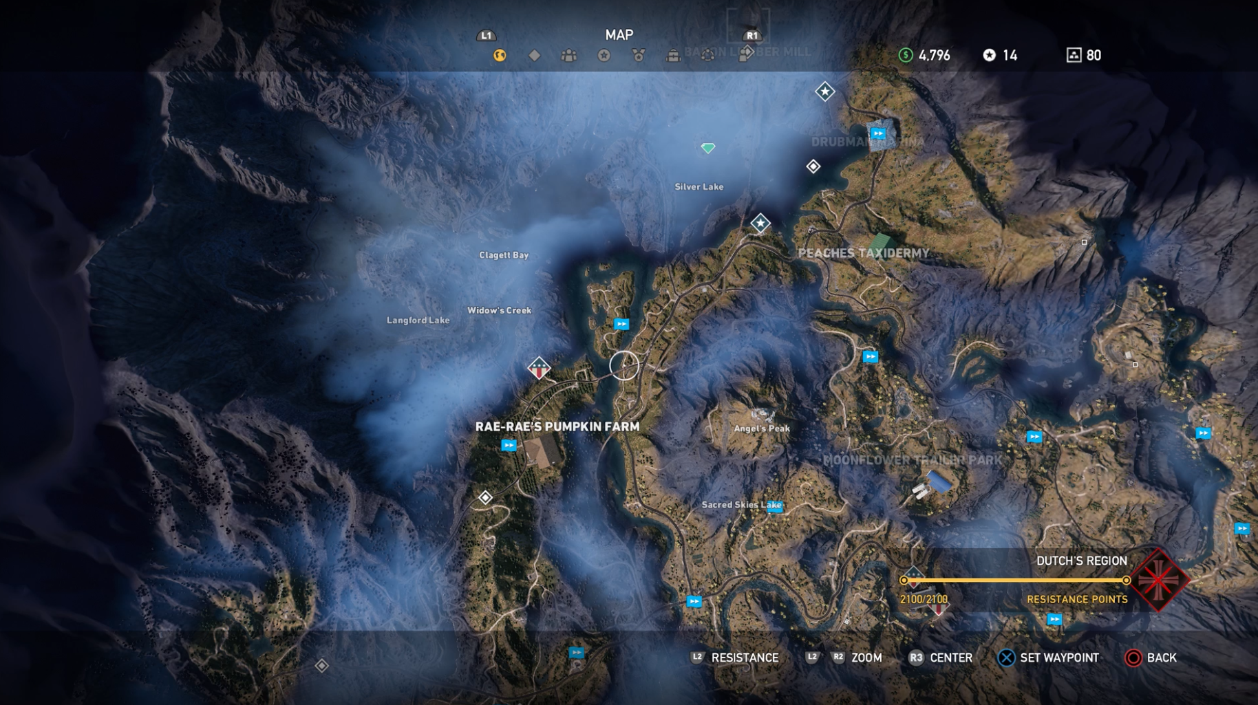 An example map from Far Cry showing the fog of war