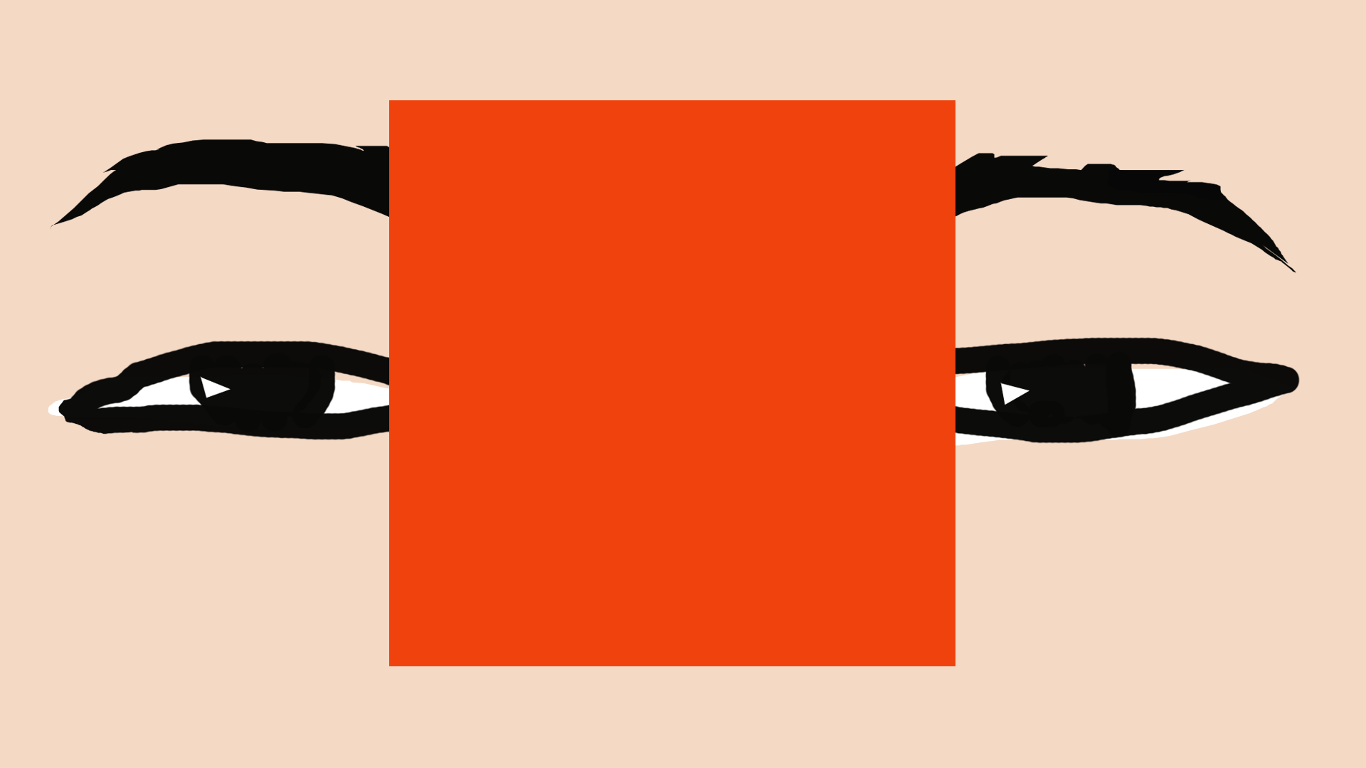 illustration of an eyes closeup with big red square in the middle