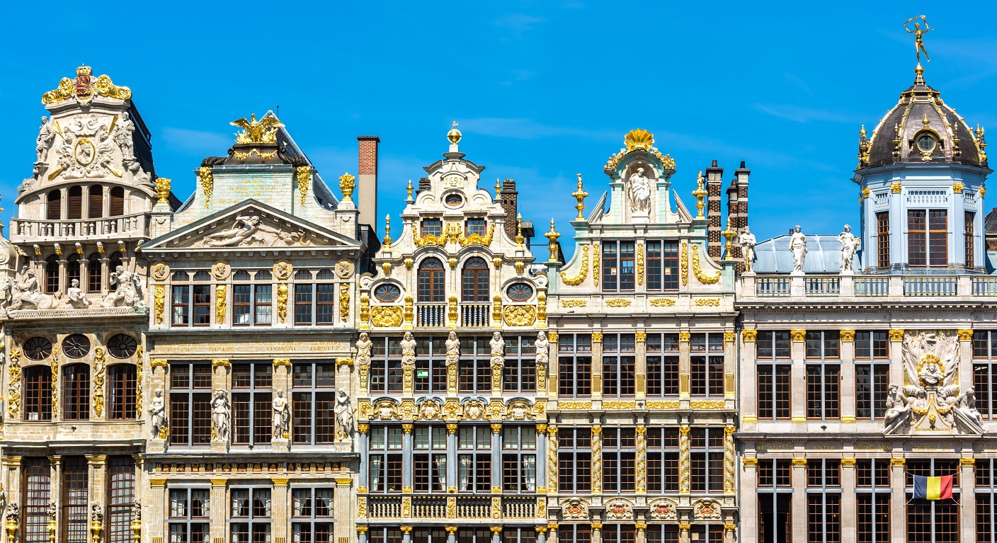 Golden ornaments on houses at Grand Place in Brussels