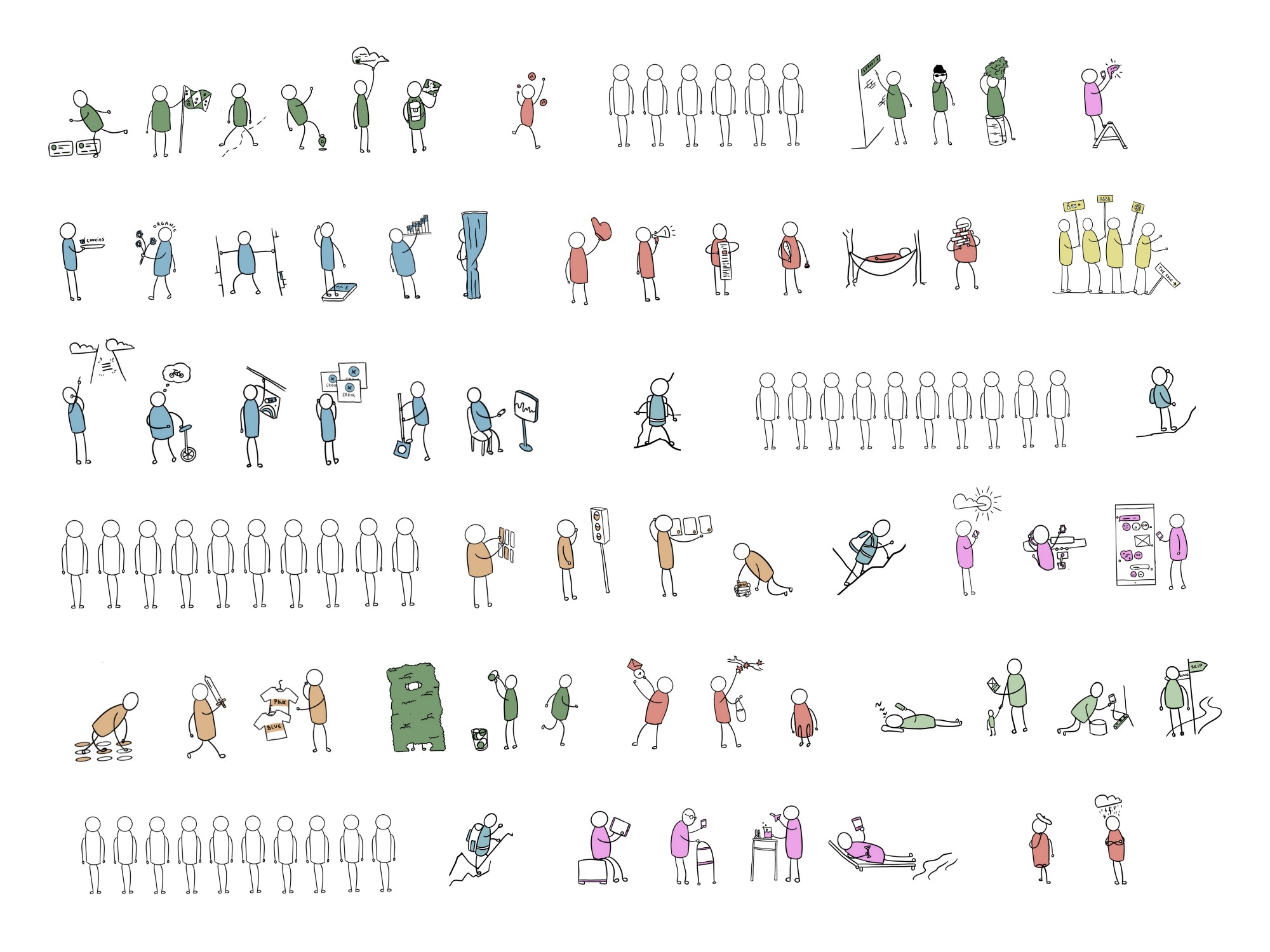 Illustration of 100 little doodle styled people doing different things. They are arranged in 6 rows