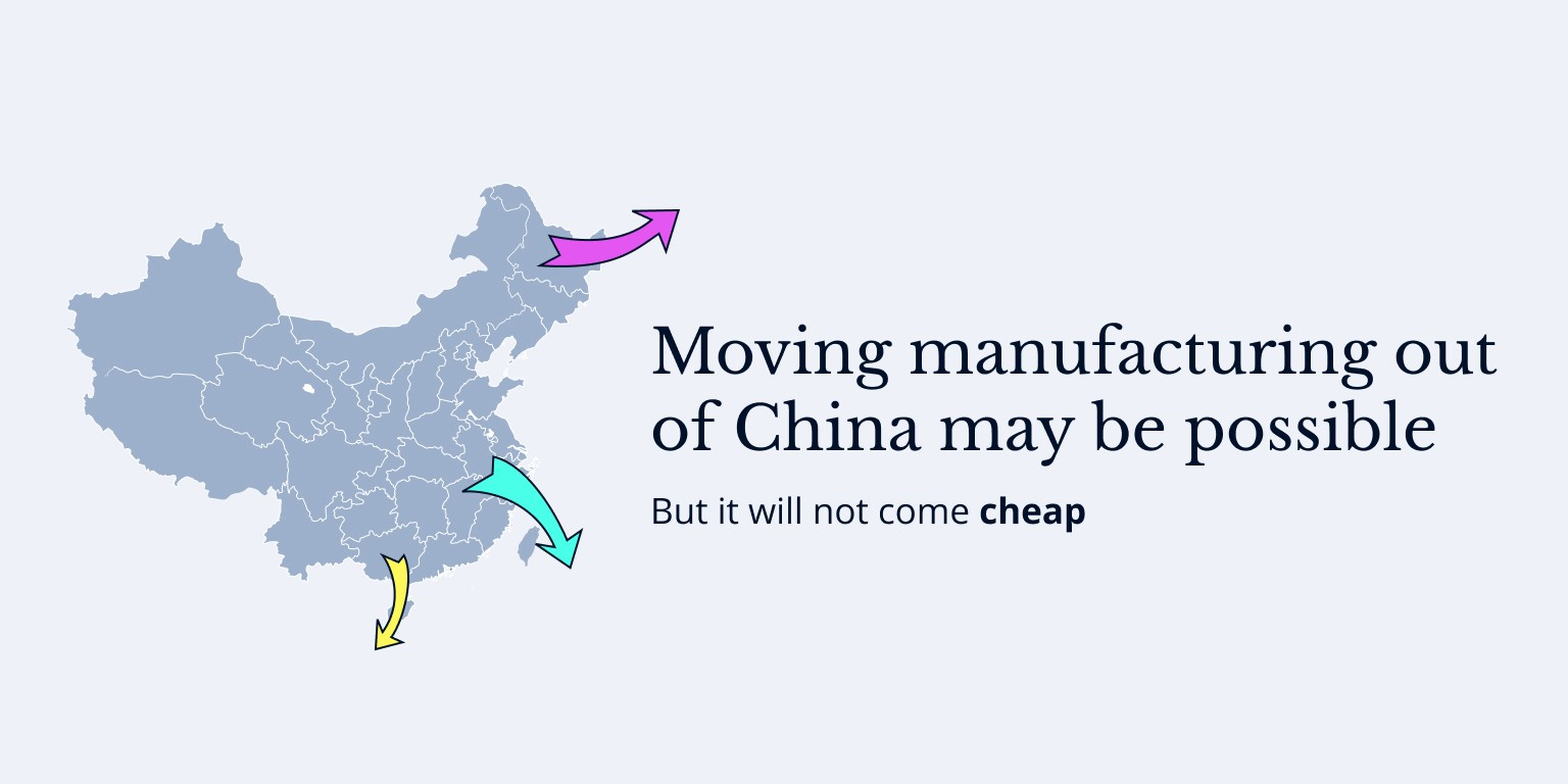 Moving manufacturing out of China may be possible, but it will not come cheap