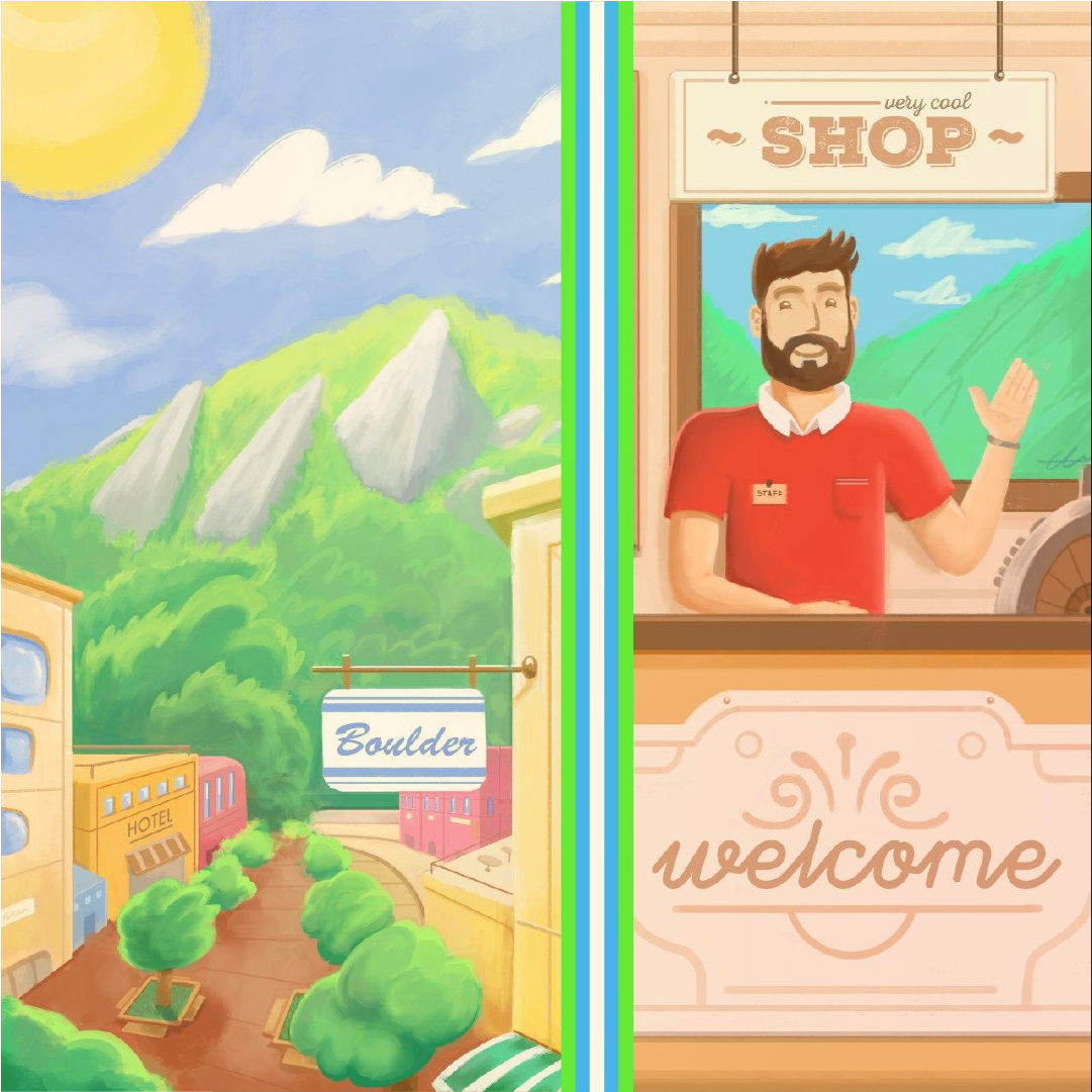 Image of a shop owner waving in front of the Boulder Flatirons.