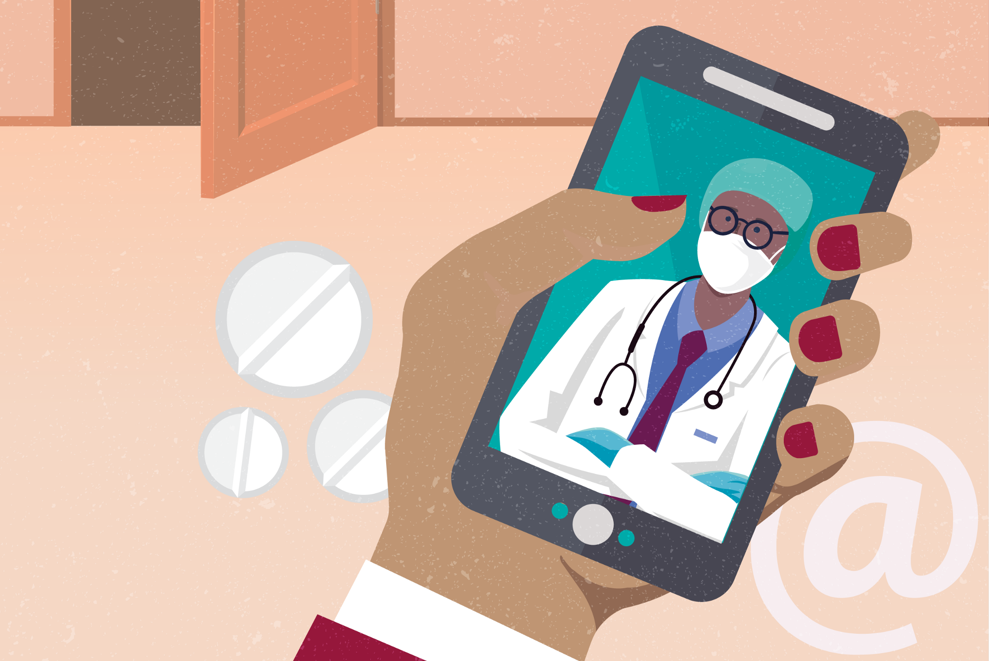 An illustration of a hand holding a mobile phone with a doctor on the screen, surround by medicine