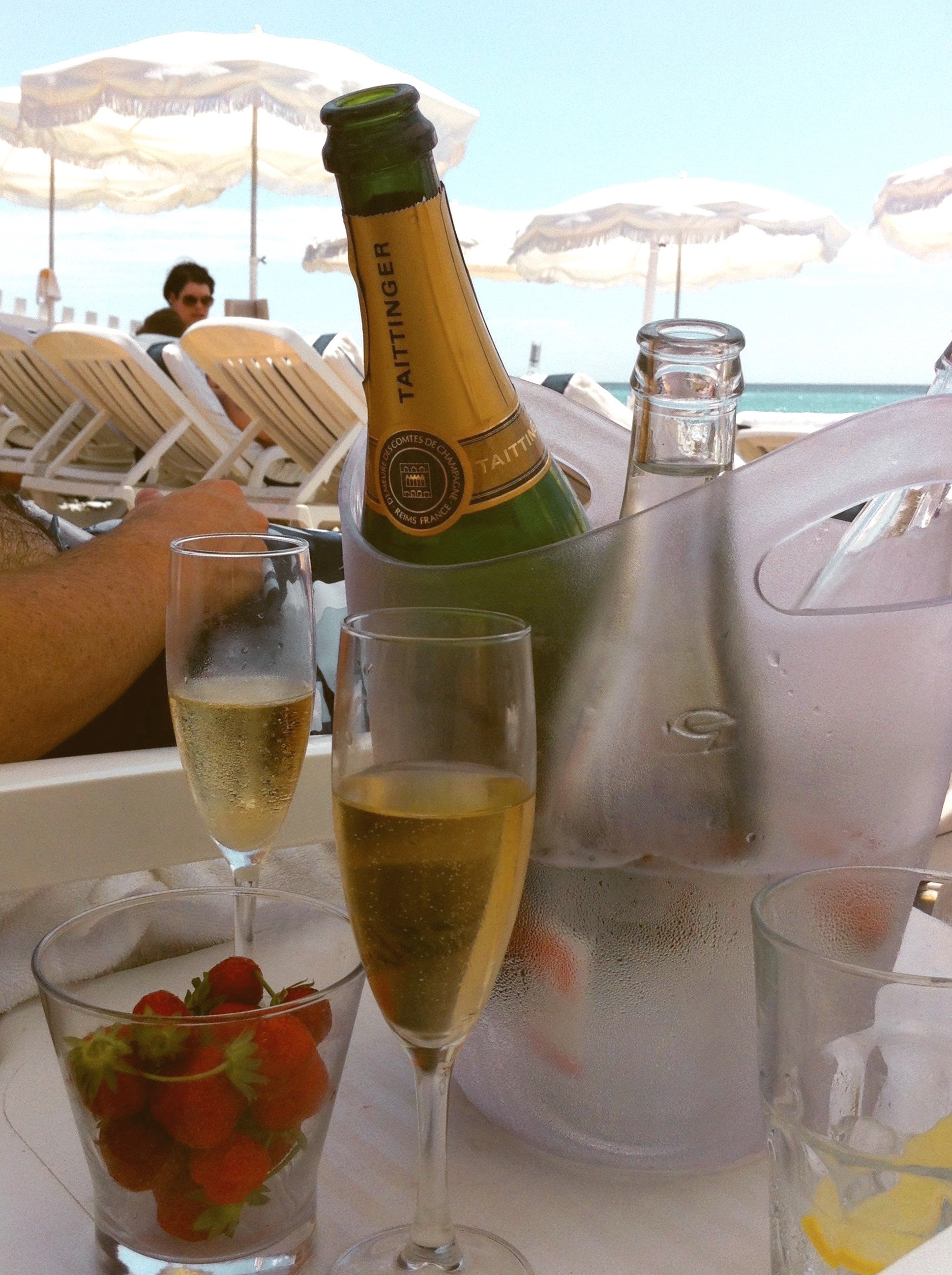 The strawberries, champagne and sea (author's own photo)