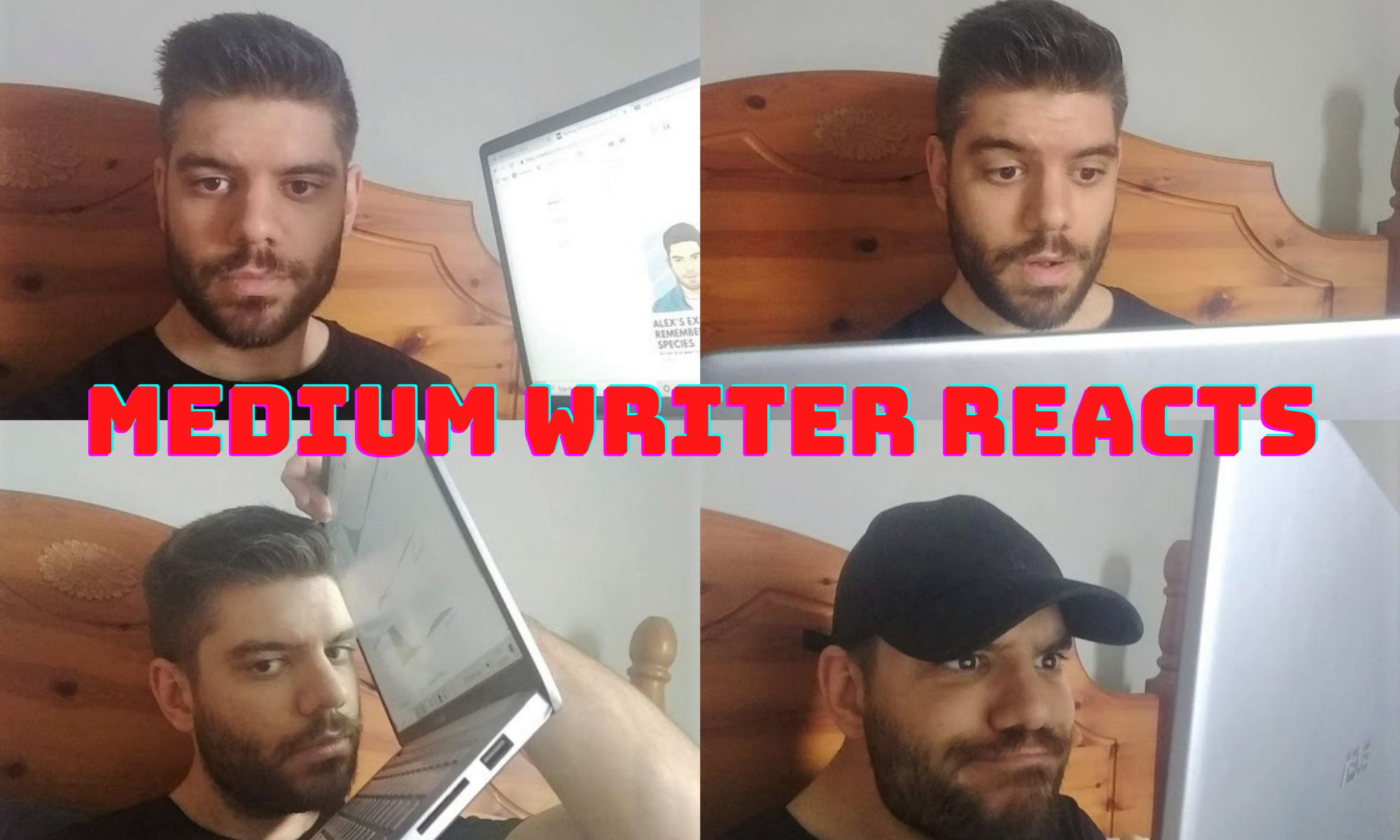 medium writer reacts to his medium articles, making funny faces
