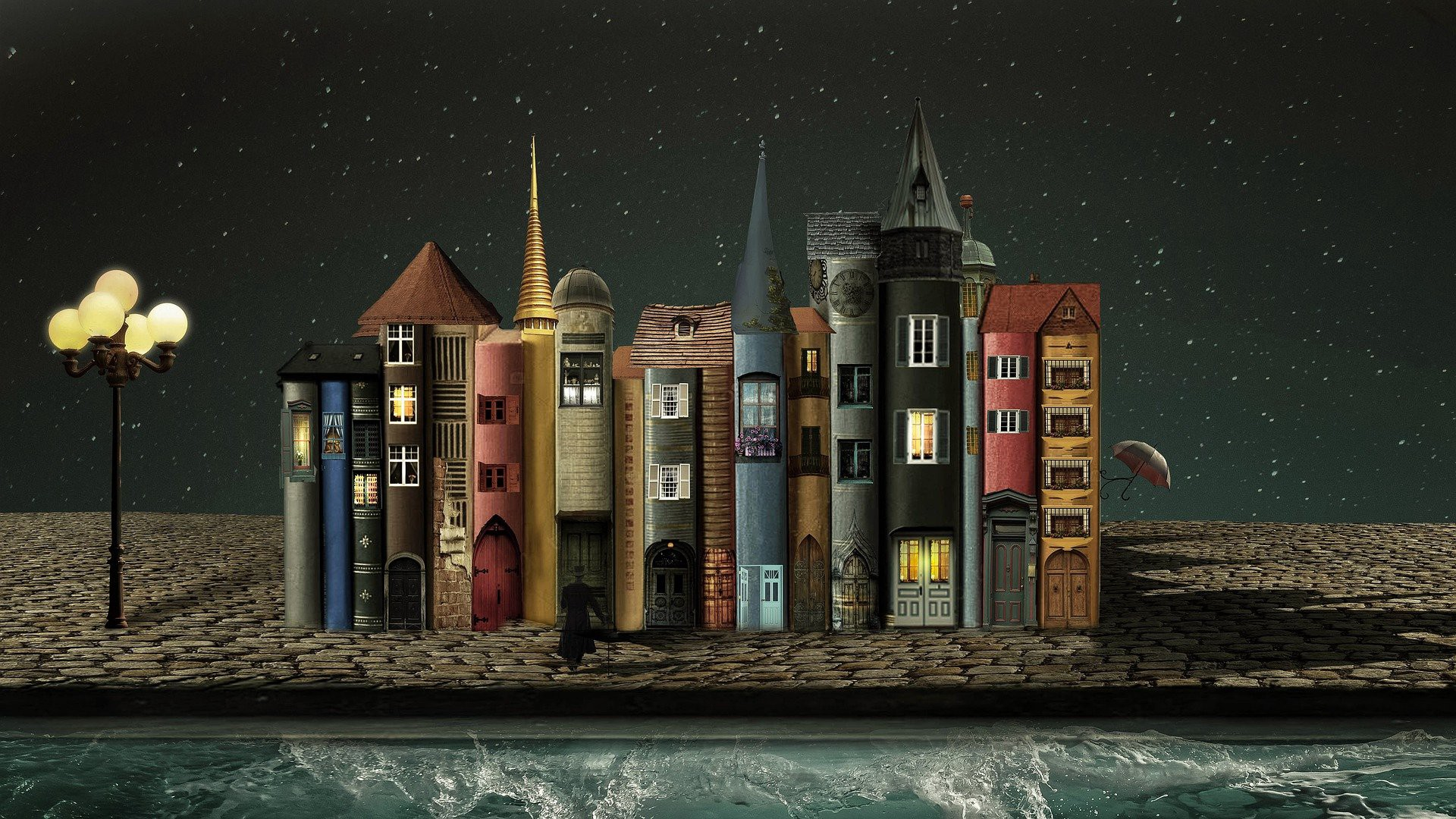 A fantasy view of a bookstore world