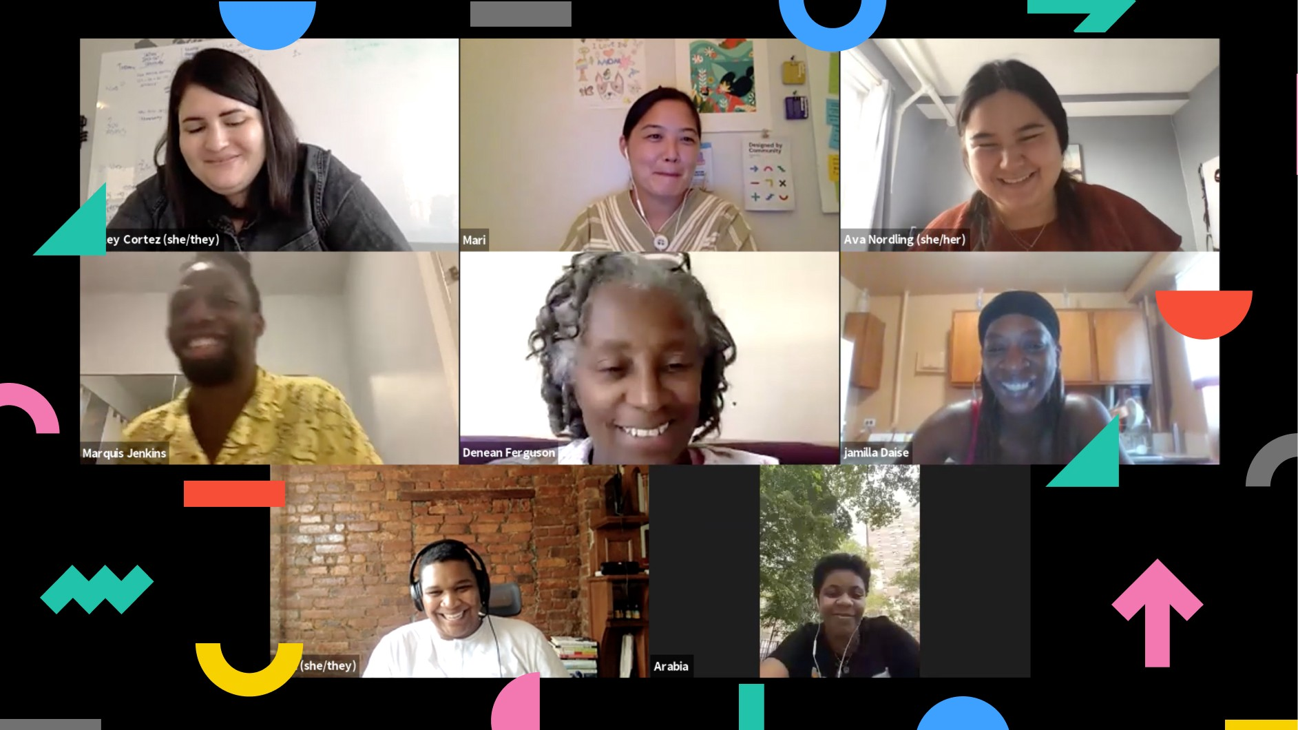 An image that has eight people who are part of the Designed by Community Fellowship Program tiled in a Zoom meeting. Everyone is smiling.