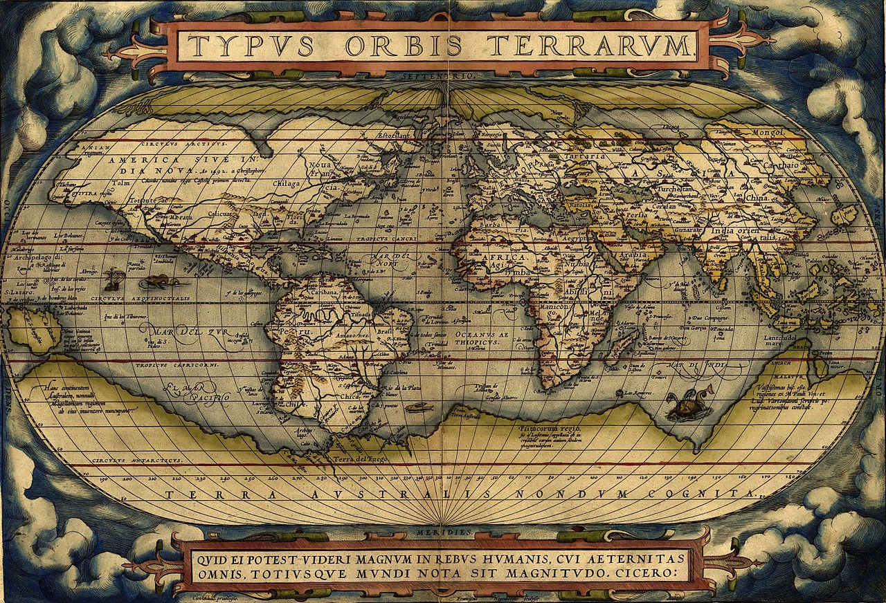 An antique pseudocylindrical world map projection showing America on the left hand side, while Europe, Africa and Asia on the right.