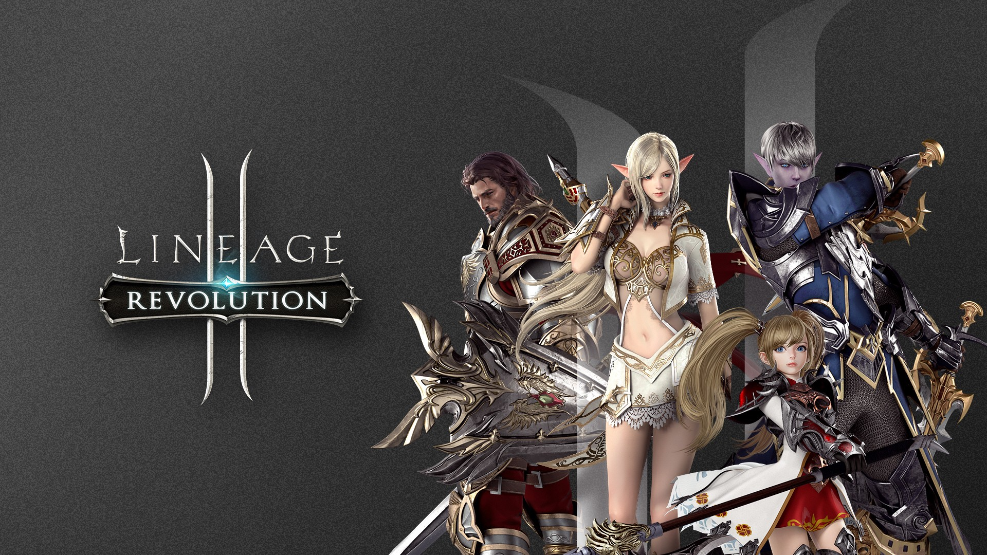 Four characters (a human, an elf, a dark elf, and a dwarf) stand together on the right side of the picture against a gray background. The logo for Lineage 2: Revolution sits on the left side of the picture.