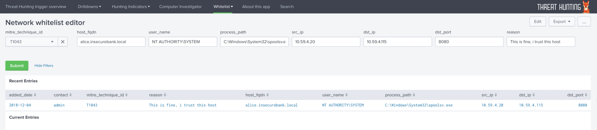 Endpoint detection superpowers on the cheap, Threat Hunting app