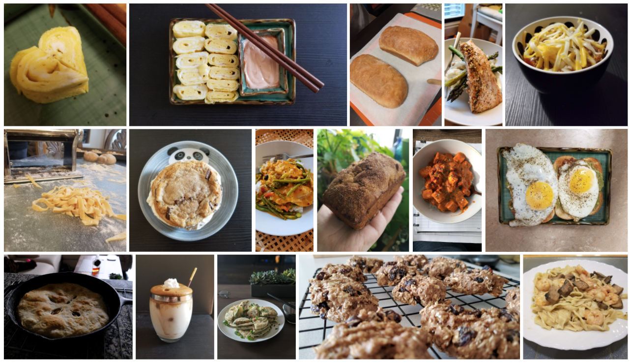 A selection of plated dishes and baked goods.