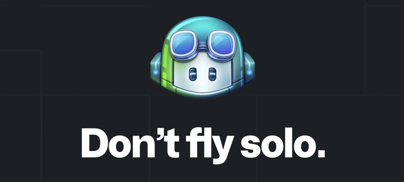 Github Copilot Icon, and a quote.
