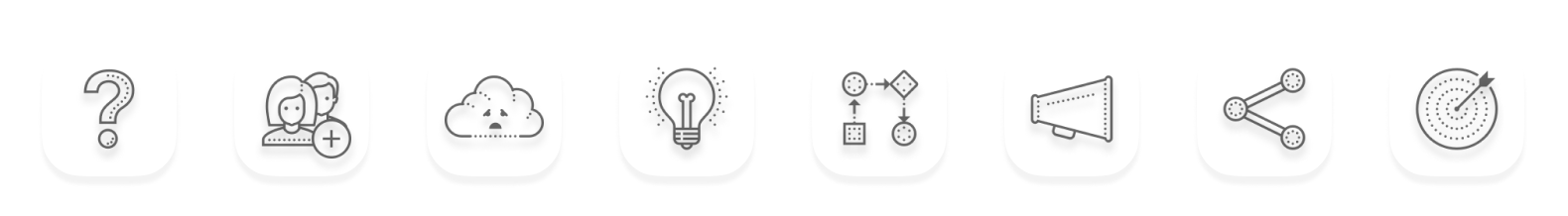 Image of eight icons visualising the components of the story canvas further explained in the story