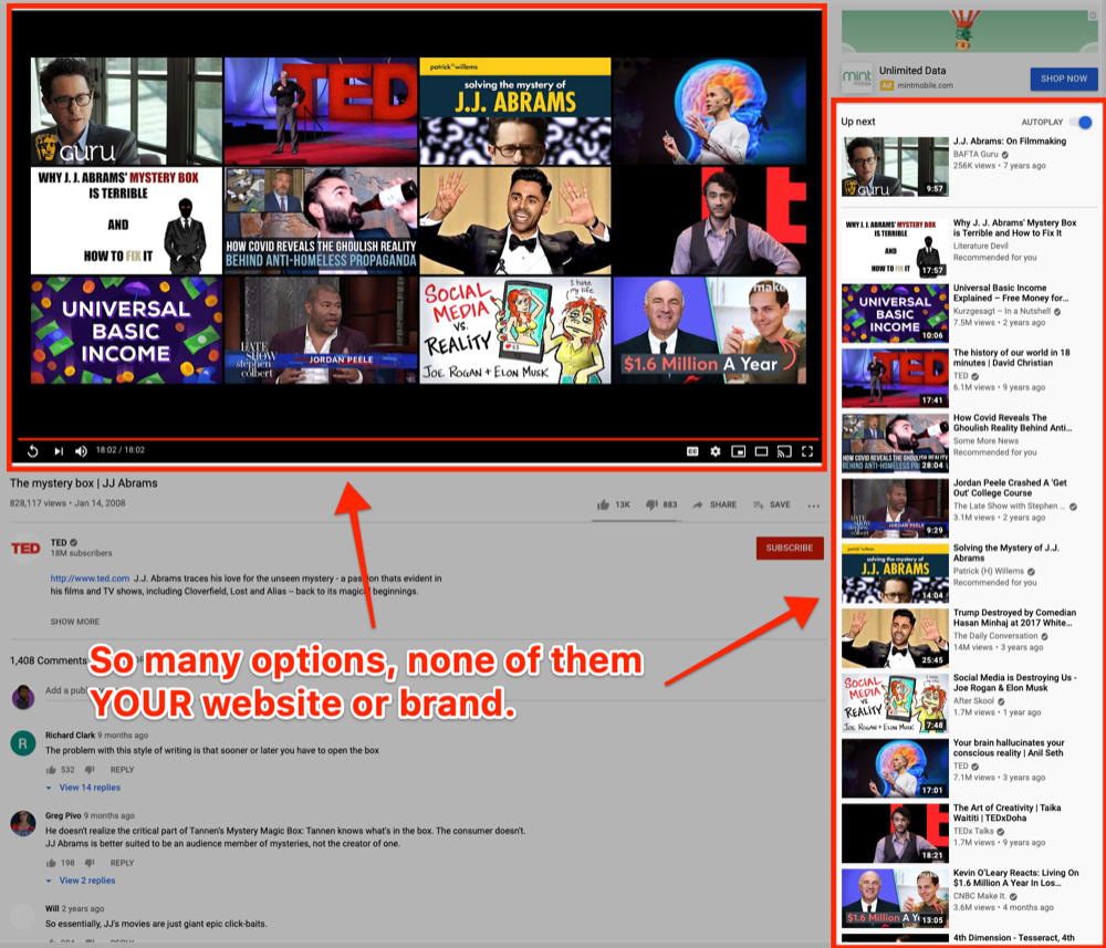 Image of a Youtube video, with the other videos available highlighted.