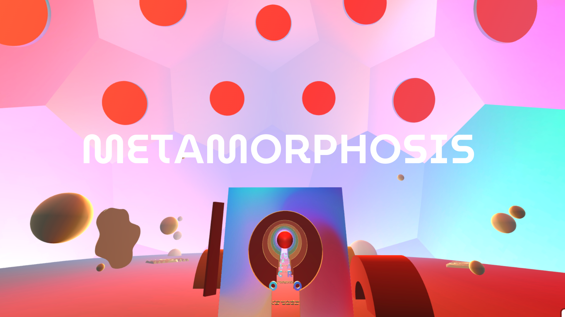 Computer graphic of the title on a colorful 3D background, with red dots and geometric chapes.