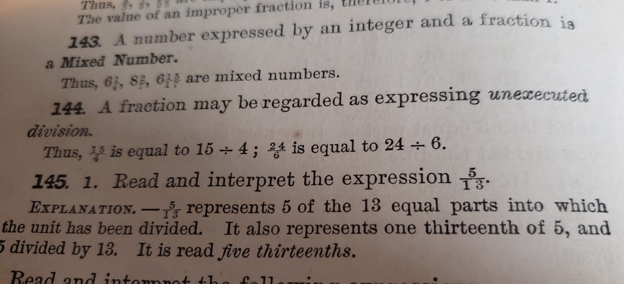 """A photo of a portion of a mathematics book defining """"fraction""""."""