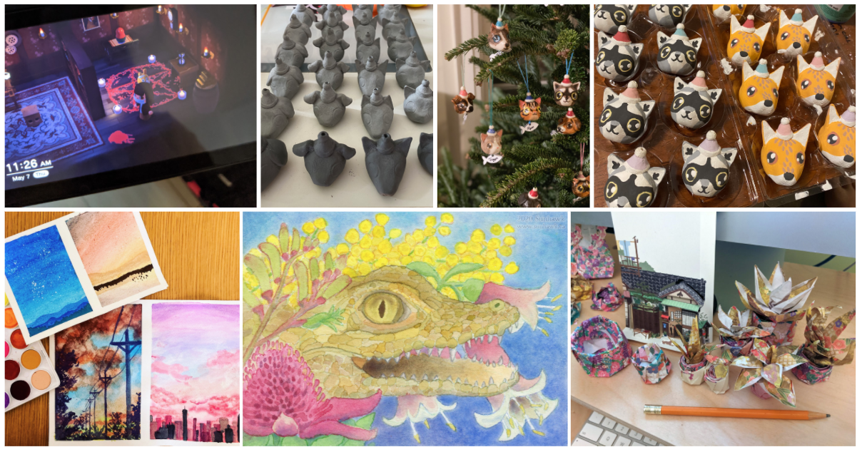 A selection of paintings, ceramics and origami projects.