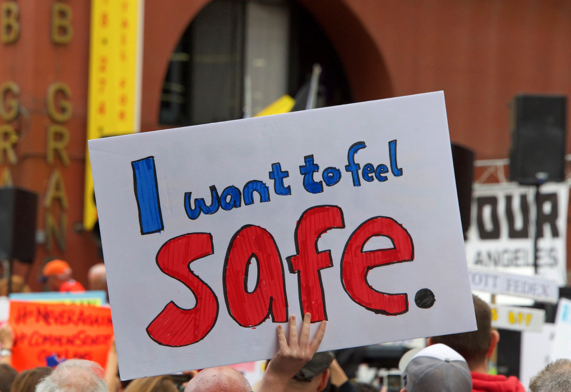 """Citizen holding sign, """"I want to feel safe."""" (March for Our Lives Event, Los Angeles, CA, USA)Photo 113199559 / Child And © Sheila Fitzgerald   Dreamstime.com"""