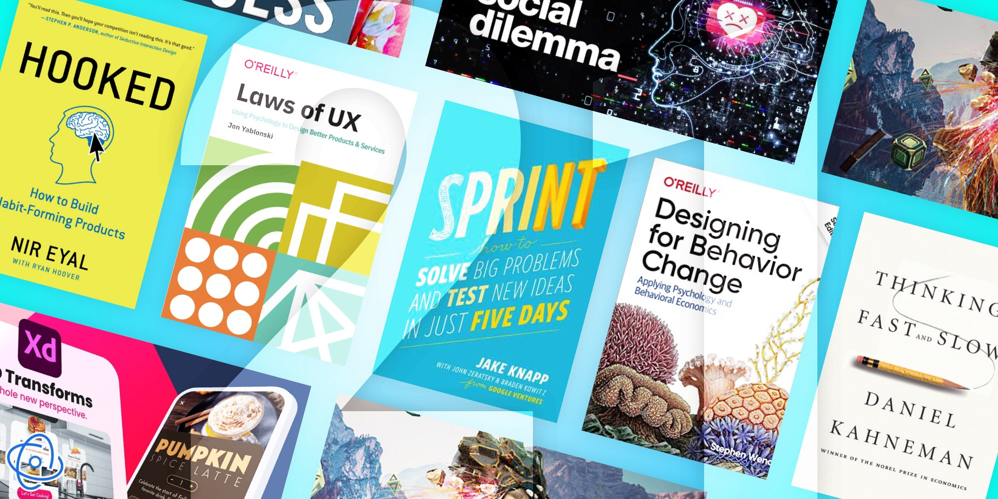 An montage of different UX books and resources