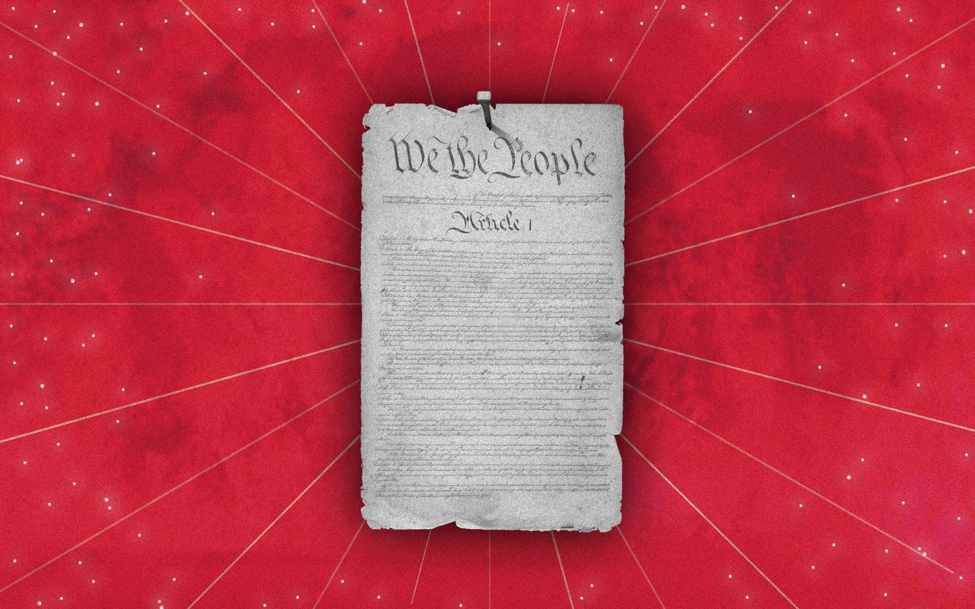 A photo illustration of the Declaration of Independence over a red background that looks like the night sky with stars.