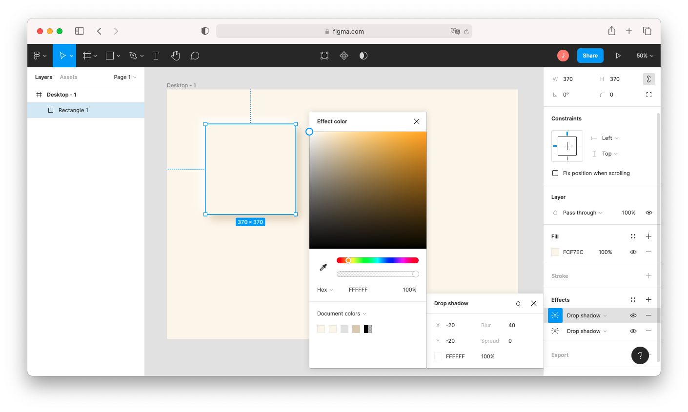 """To create a neumorphic design in Figma, give your shapes a more soft shadow by adjusting the drop-shadow's blur and color under """"effects."""""""