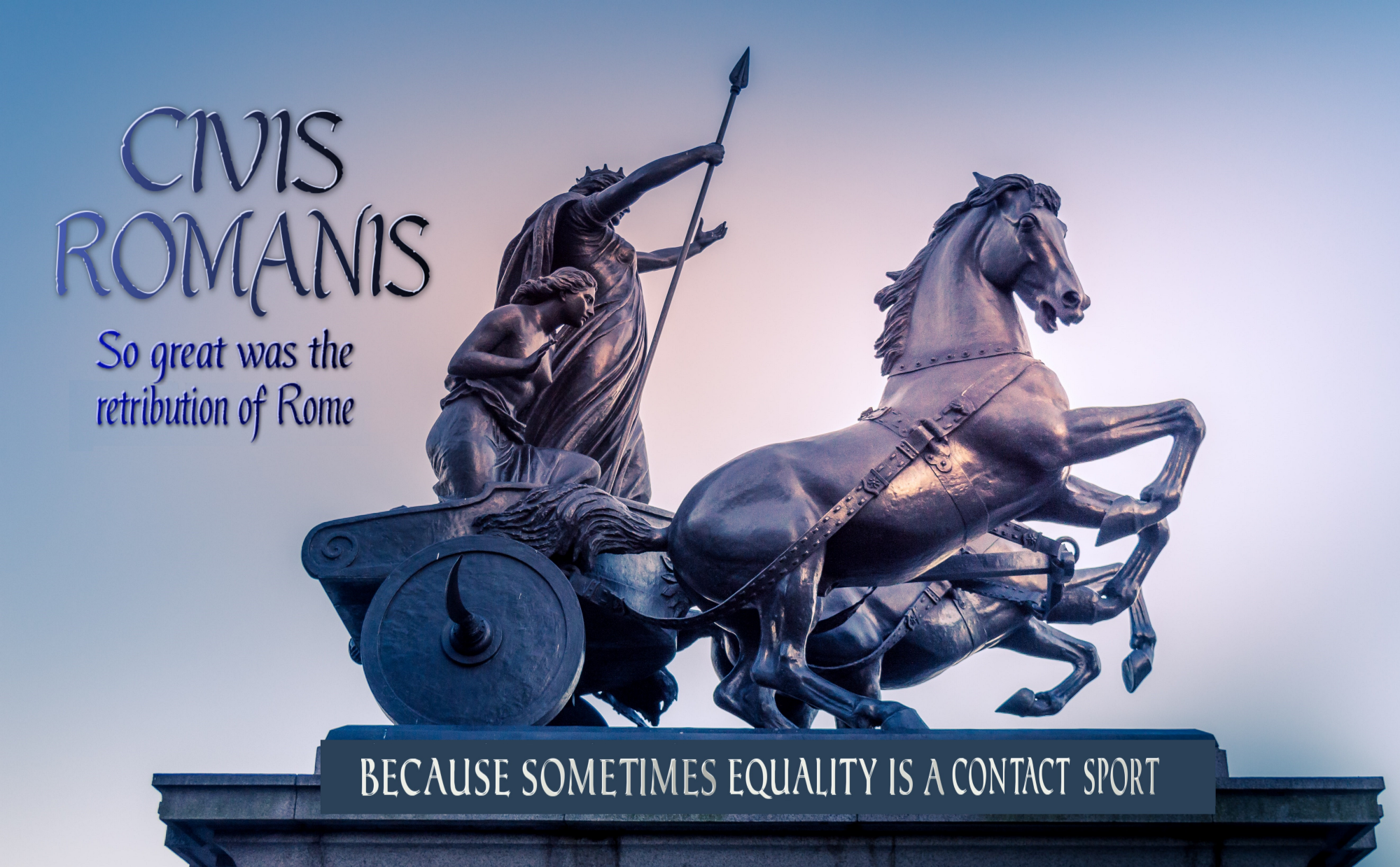 Roman chariot in a race for justice in policing because race is a contact sport