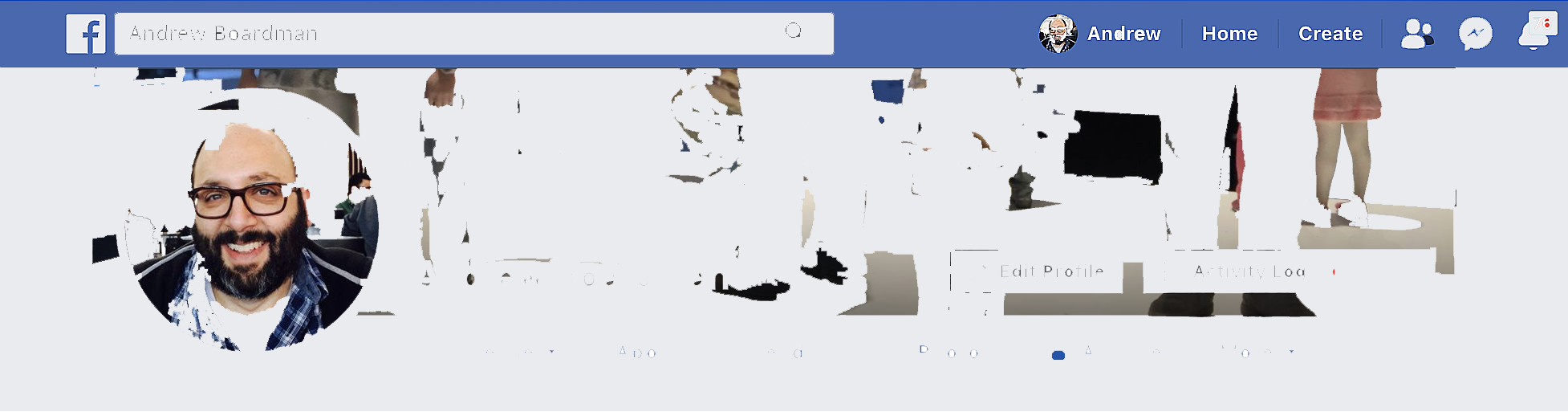 Destroyed screenshot of the top of Facebook profile.
