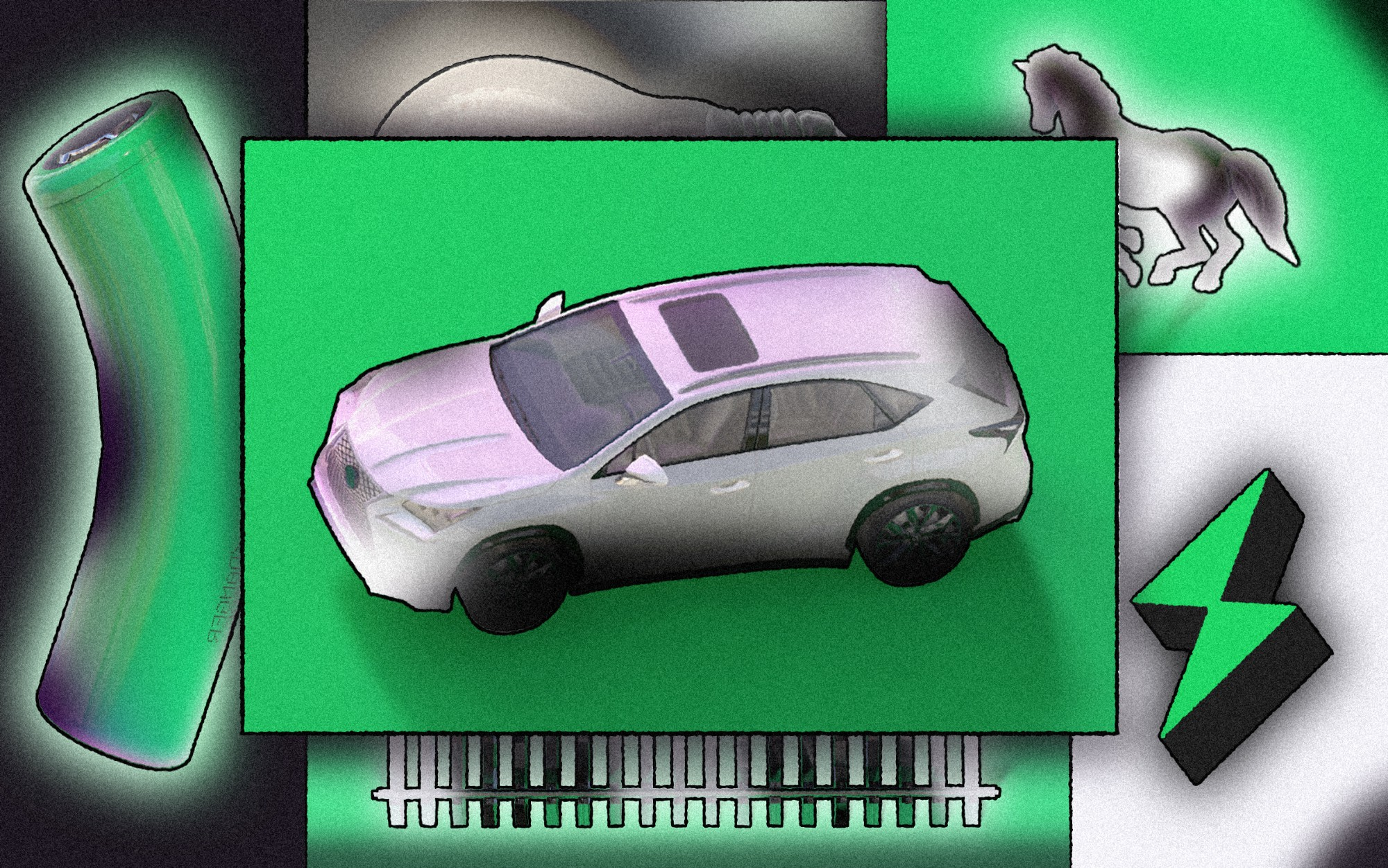 An illustrated collage with an electric vehicle, a battery, a charge symbol, a lightbulb, and more.