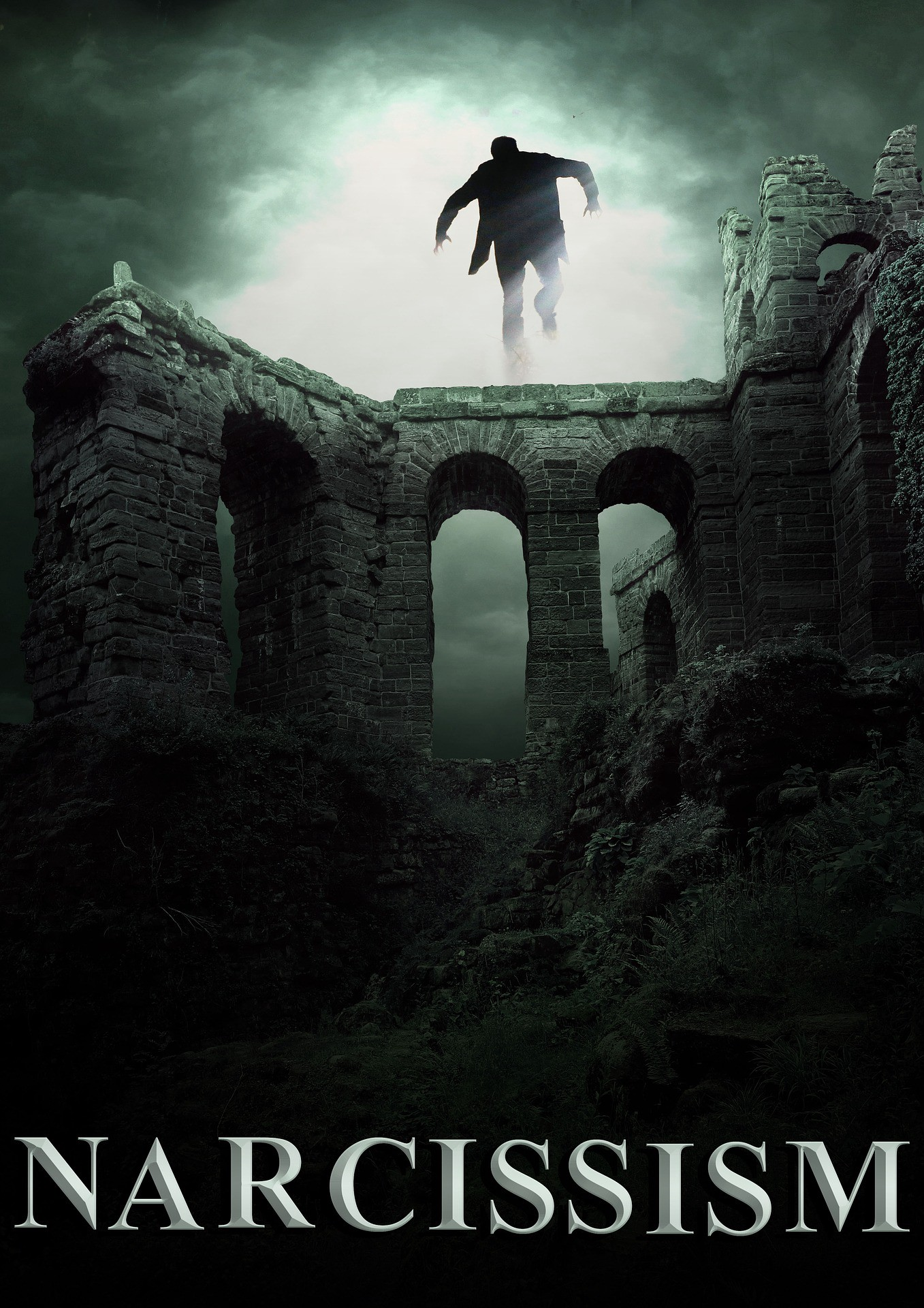"""A man on a castle wall with the word """"Narcissism"""" underneath"""