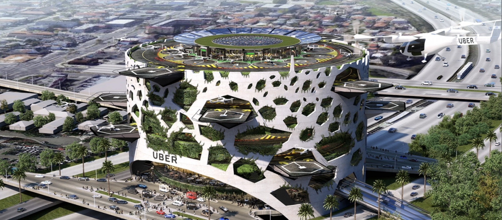 Image of Uber's concept of a multi-story transit hub for electric air taxis built above a series of freeways in an urban landscape.