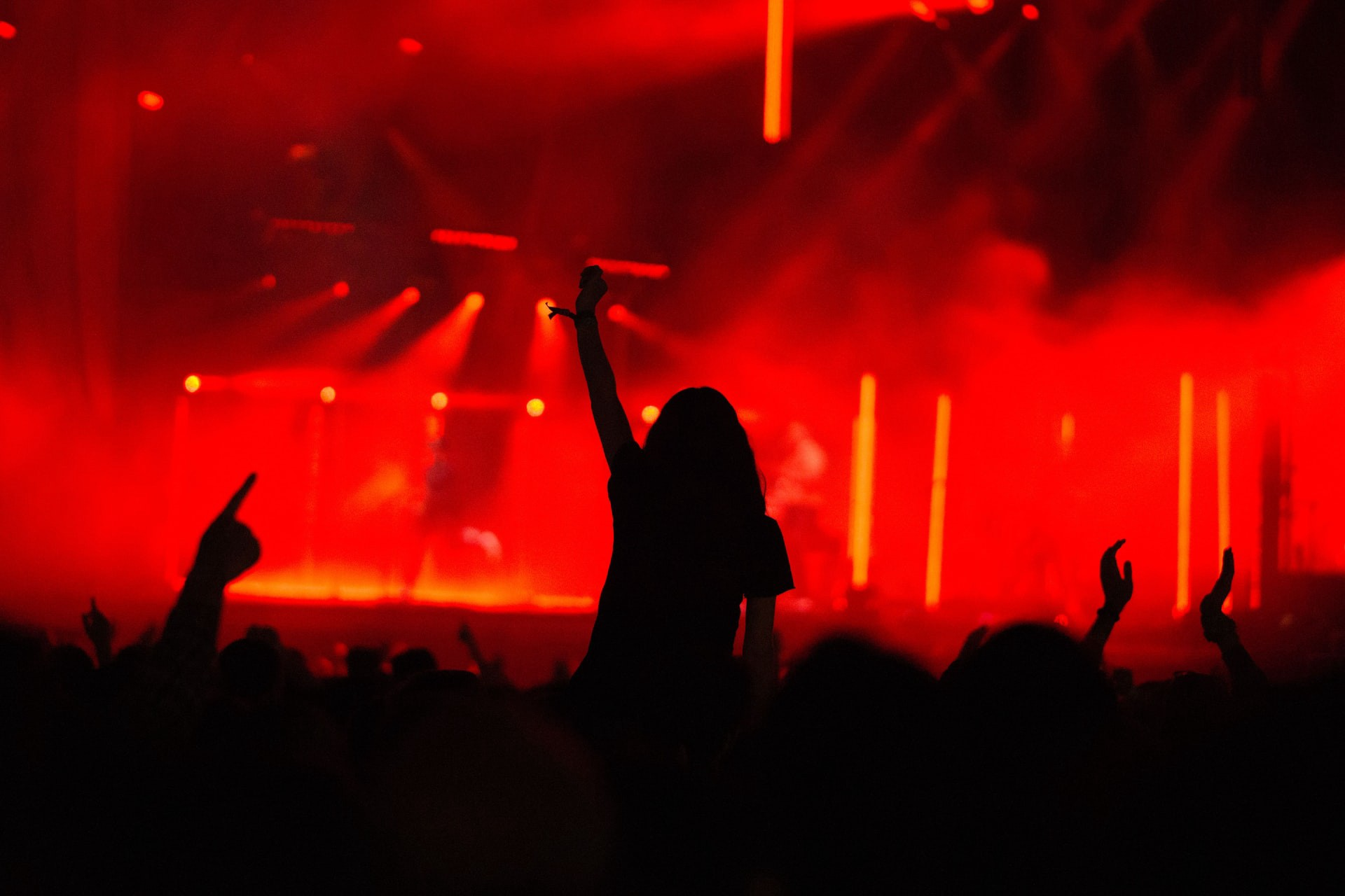 Silhouette of a woman at an electronic show on the shoulders of someone else