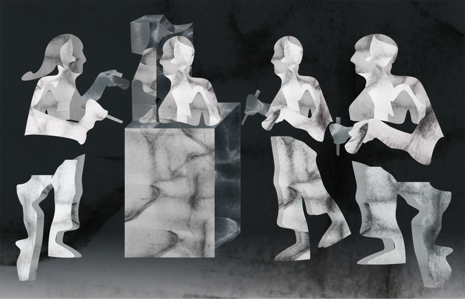 illustration of sculptors holding chisels and a partial bust emerging out of a granite block