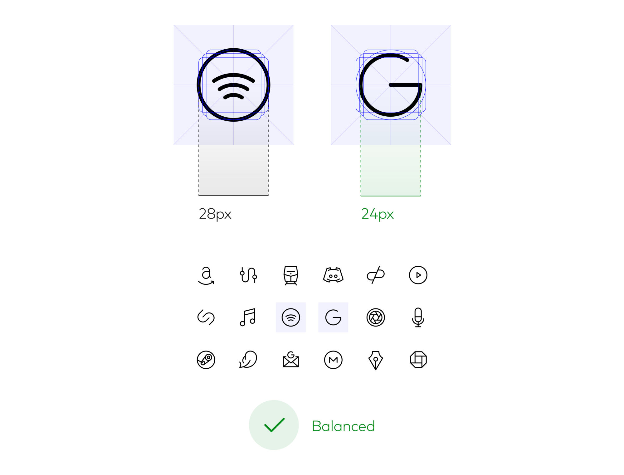 """Scaling the Google """"G"""" down 4px in diameter help balance it visually with the set"""