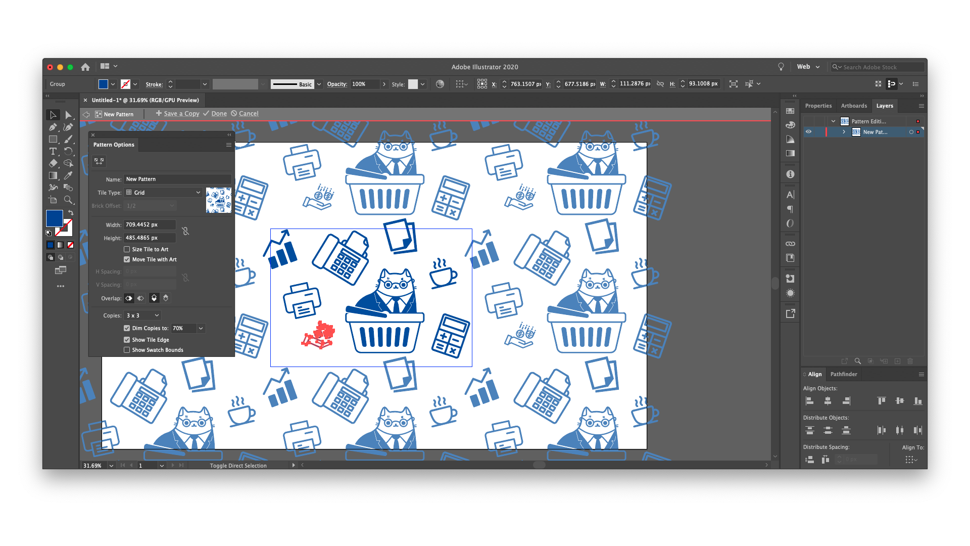 How to make pattern in Illustrator: insert Noun Project icons, select all of them on your artboard, and go to Object > Pattern > Make. However your cluster of icons is arranged, it will now make a repeating pattern stretching across your artboard.