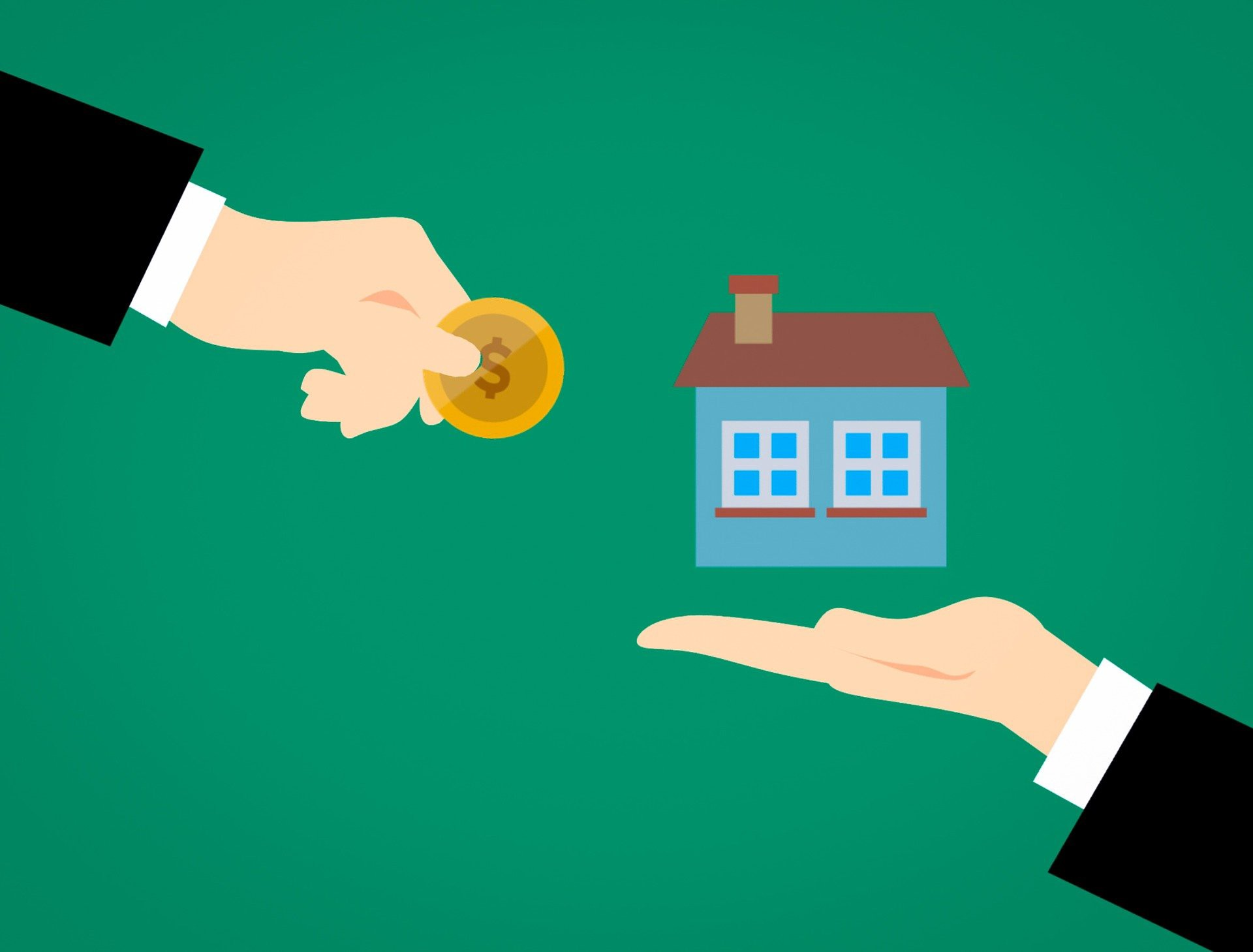 Cartoon with one hand holding a small house, trading it with another hand that is holding money.