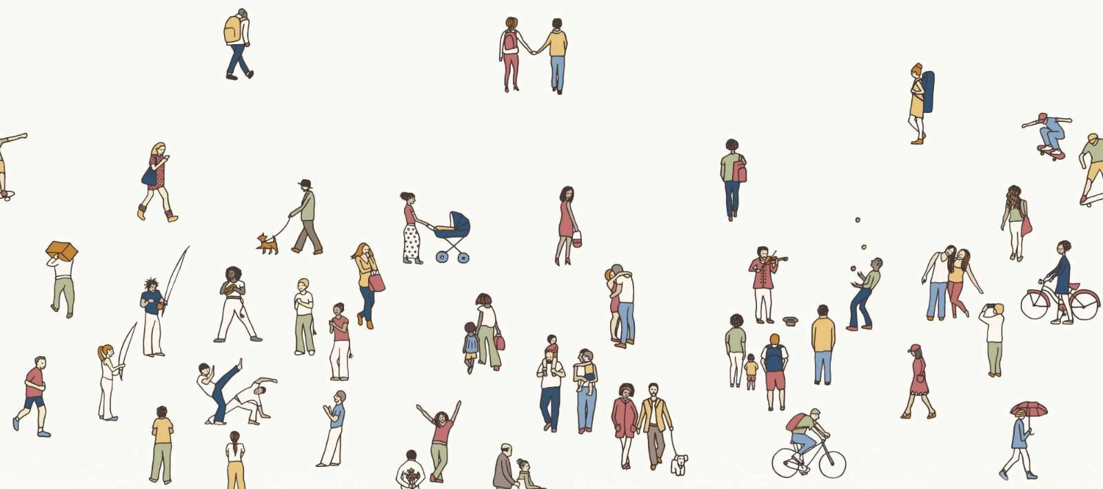 Illustration depicting people hanging out in a public space.