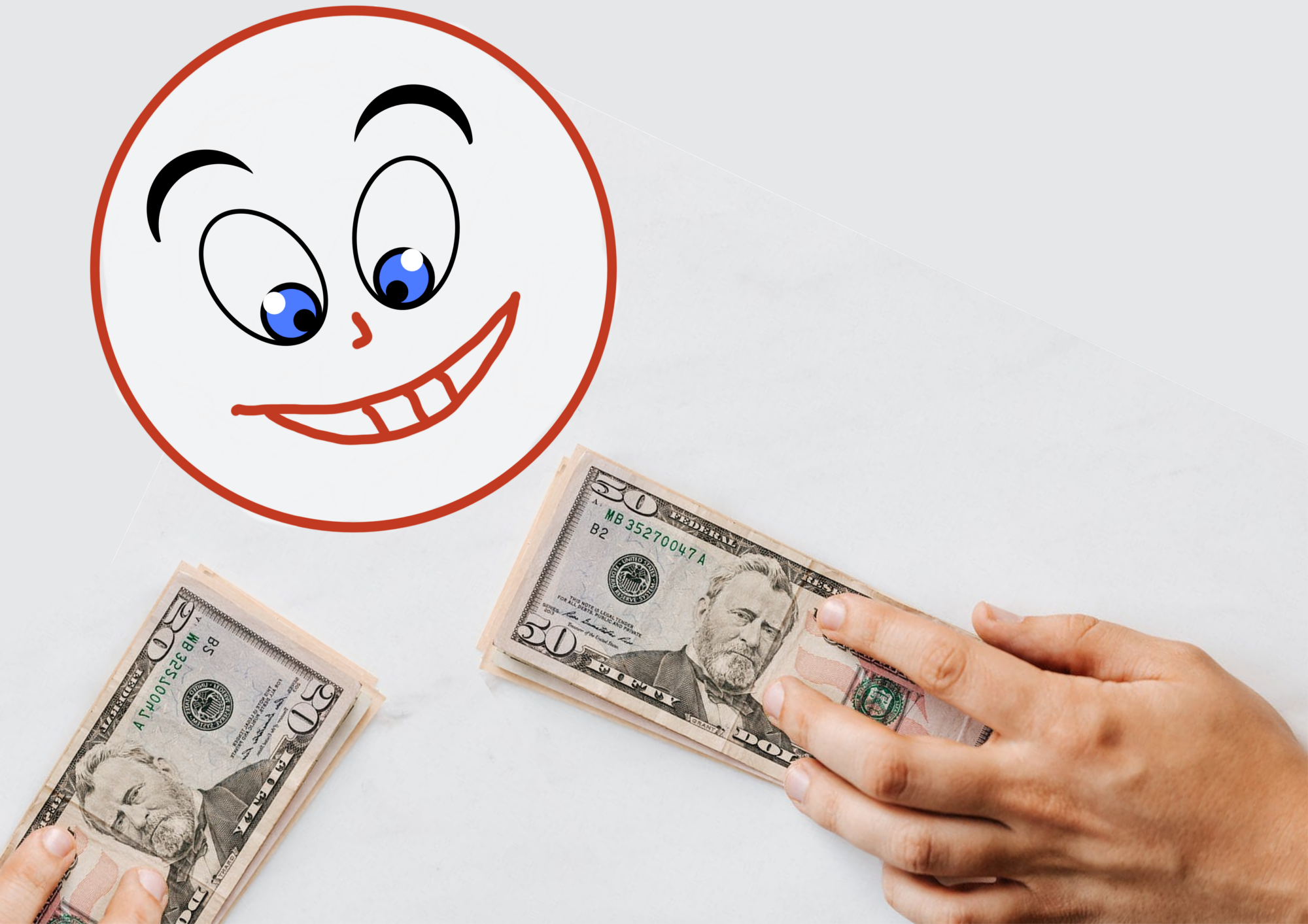 A cartoon of a head smiling at money