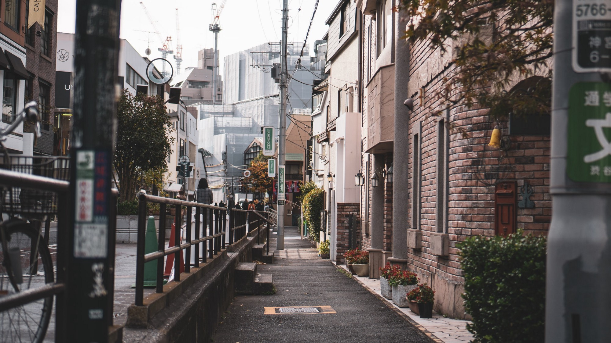 Photography of a street of Tokyo, Japan at dusk.