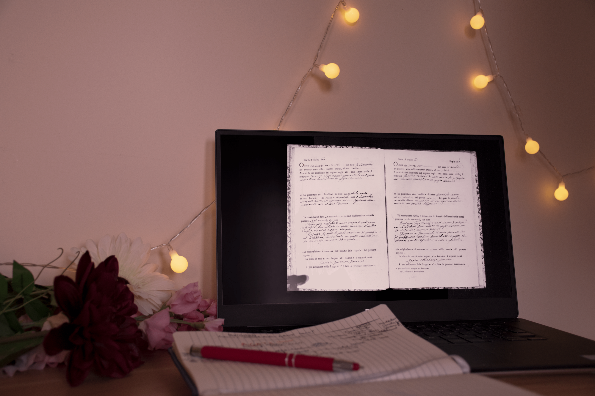 laptop with a State Archive document open, notebook with a family tree drawn on it, flowers on the bottom left corner and fairylights on the upper right corner; the picture's rosy and warm colors remind of something from the past