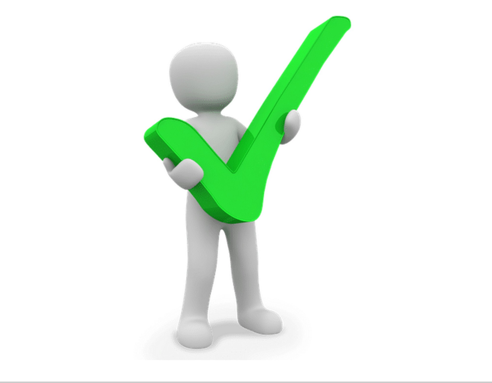 Image of icon man holding a green checkmark