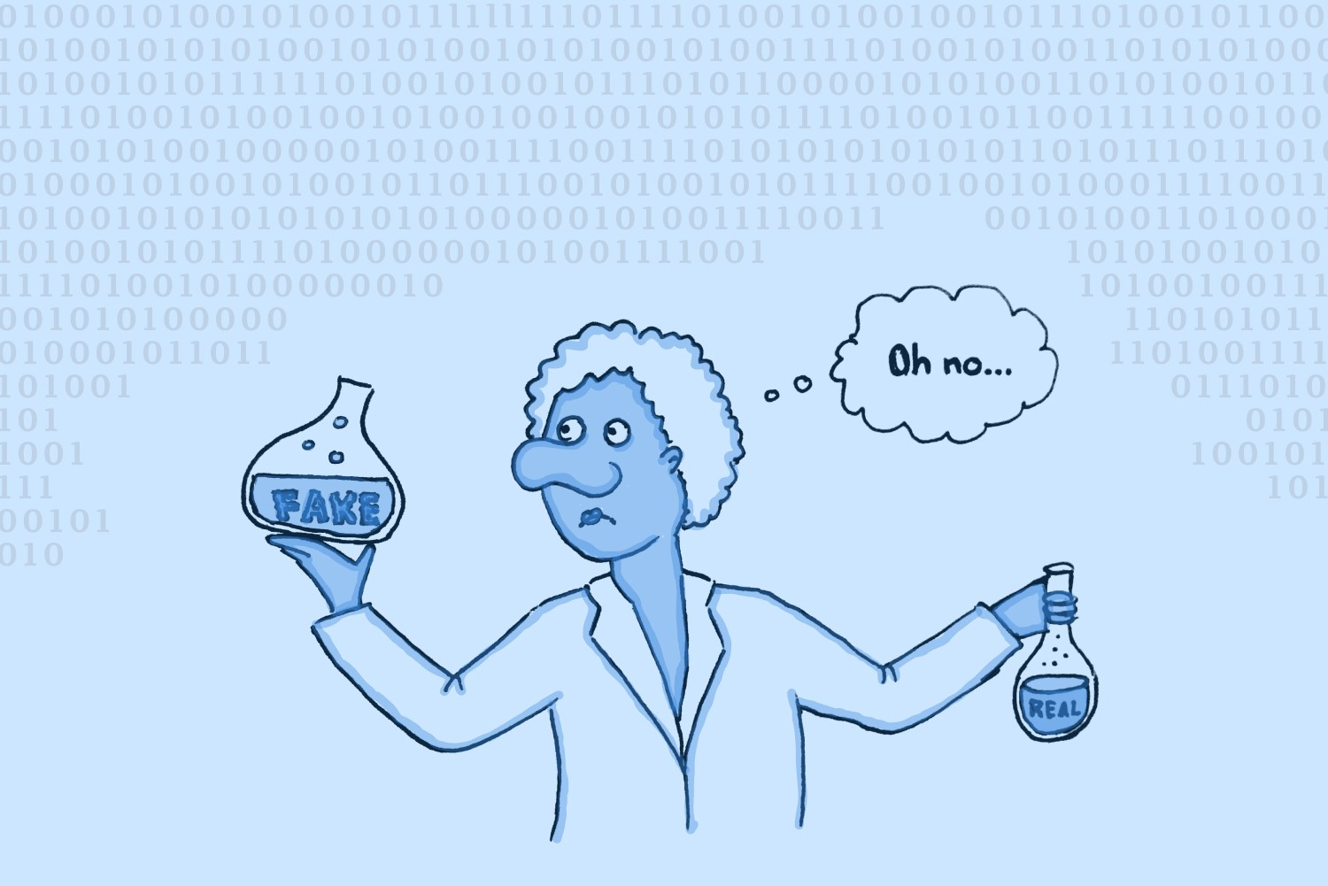 """Person in lab coat holding glass with liquid labeled """"fake"""" in right hand and smaller glass with liquid labeled """"real"""" in left, and thinking """"Oh no…"""""""