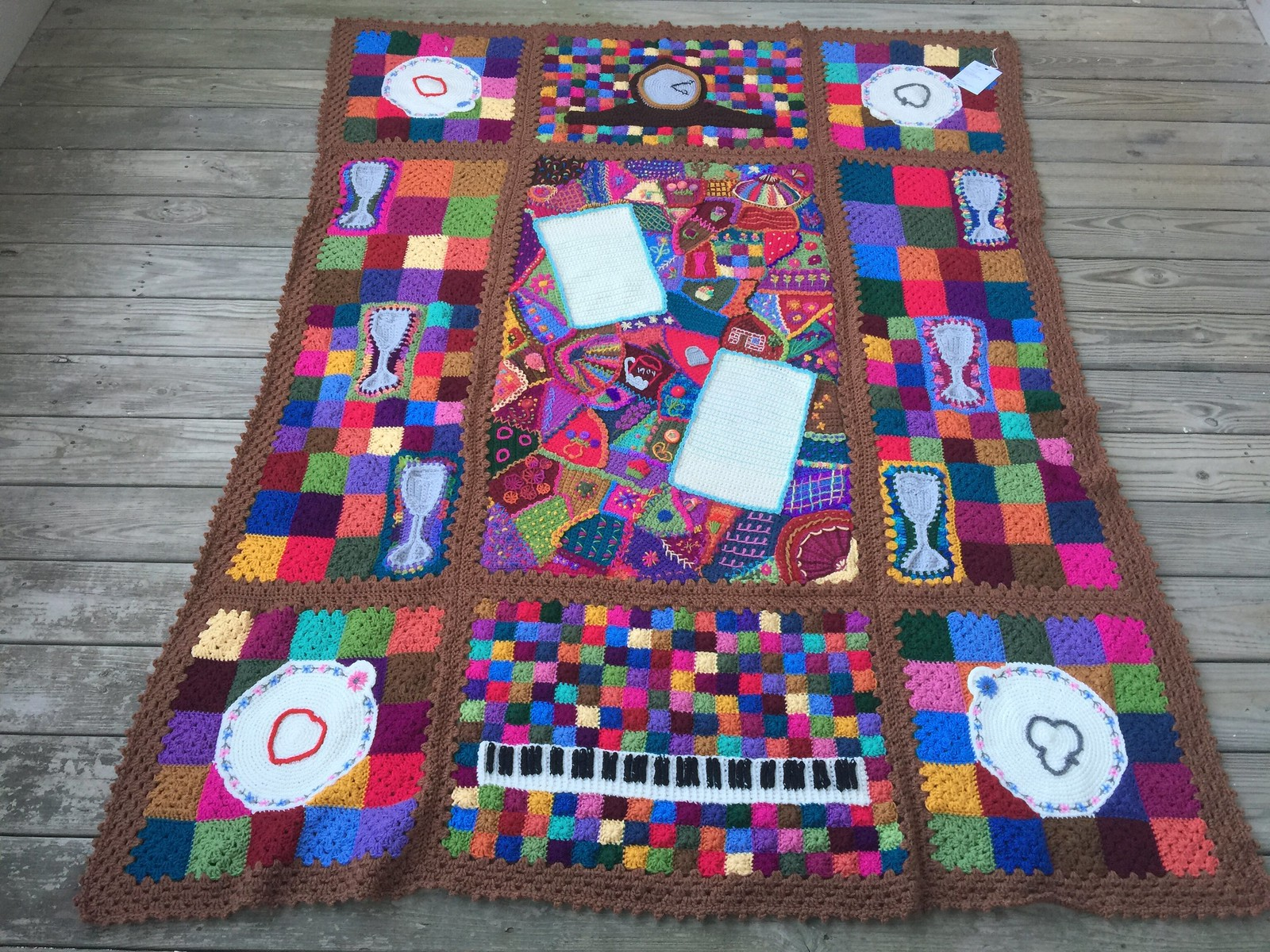 A crochet crazy quilt afghan with embroidery