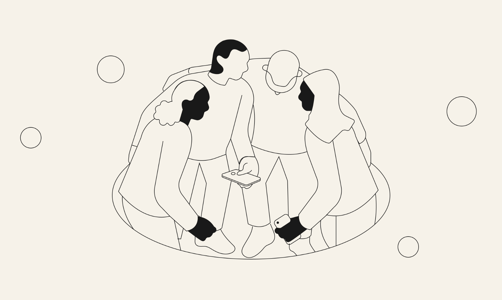 An illustration of a diverse group of people standing together looking at a smartphone.O