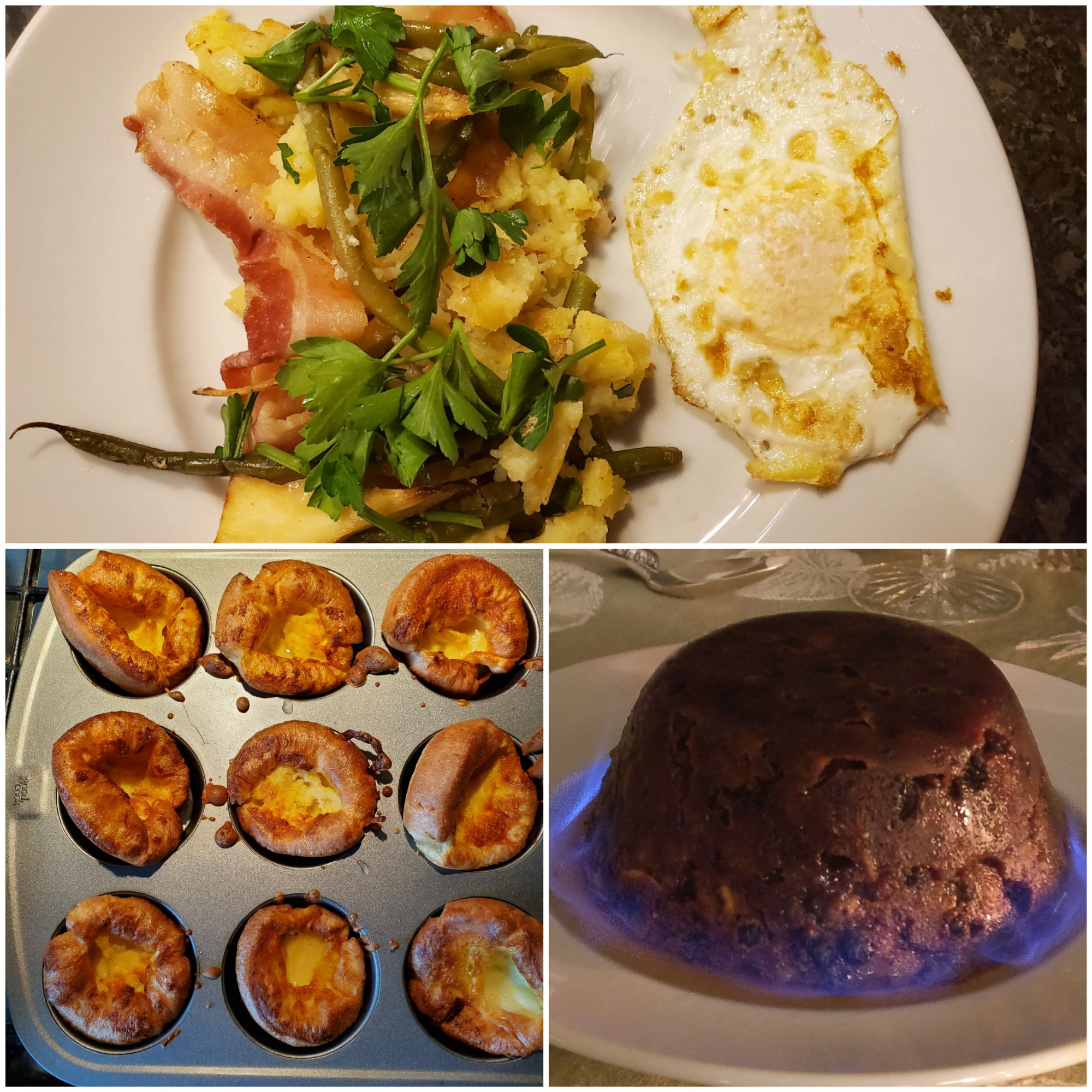 Top: Bubble and Squeak plated with a fried egg, Left: Yorkshire Puddings still hot in the pan, Right: Christmas Pudding