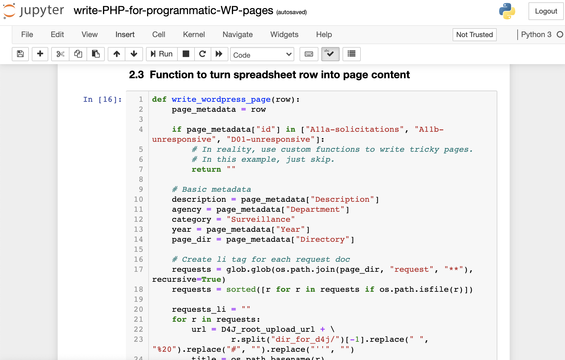 Screenshot of Jupyter notebook with function to turn spreadsheet of page metadata into Wordpress page content