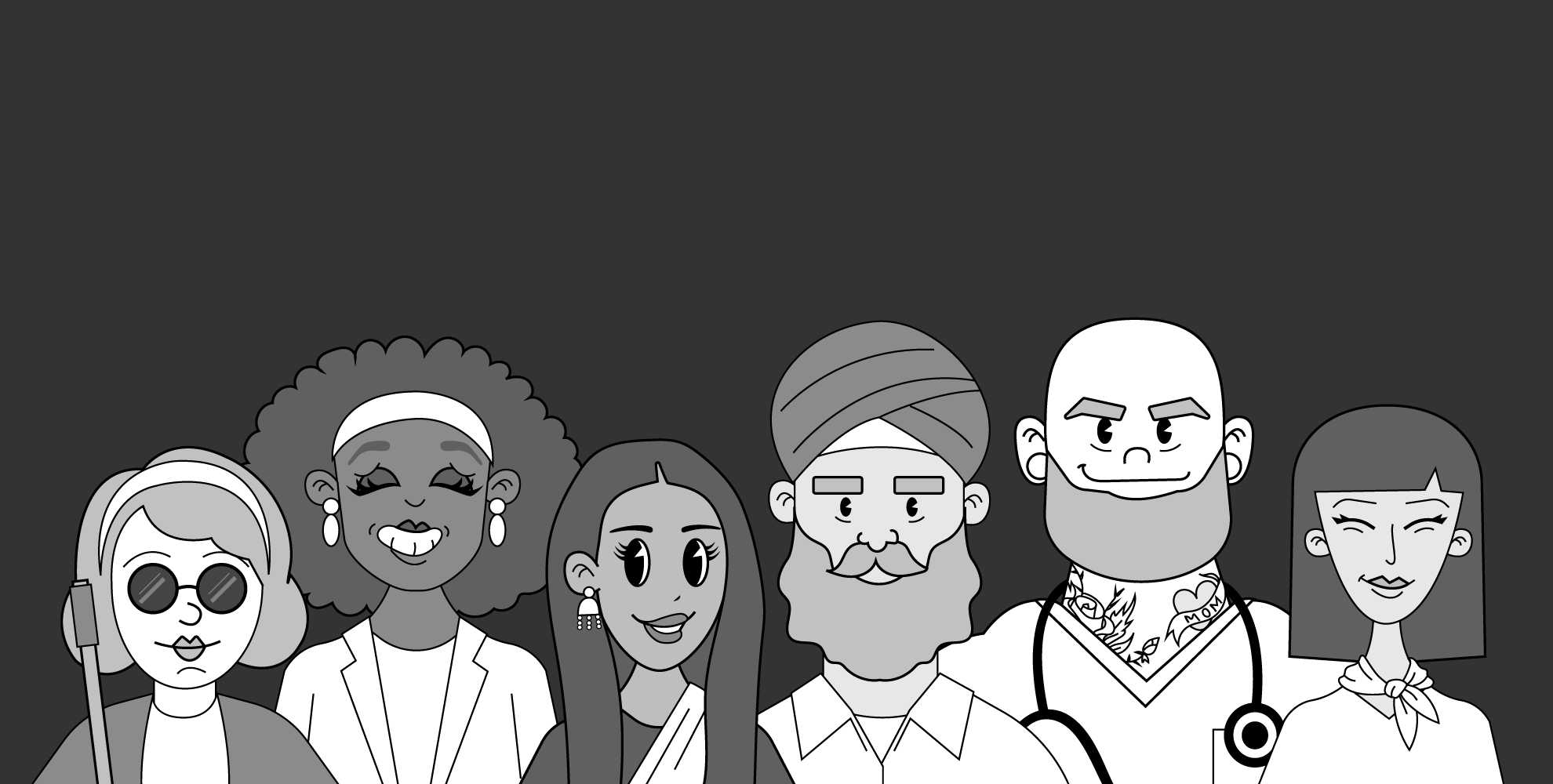 An illustration with a diverse set of people including a blind woman, a sikh man, a doctor, and several different women.