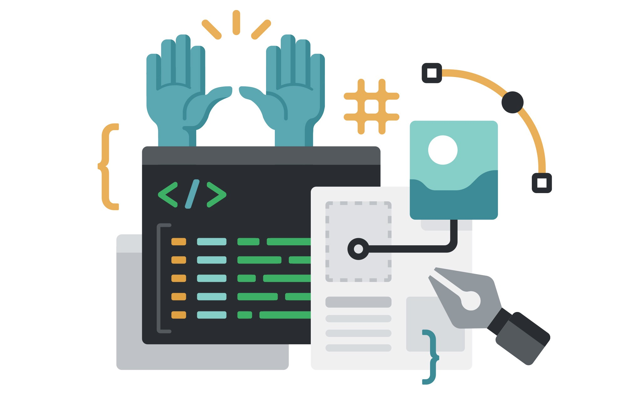 An illustration showing a pair of raised hands, some markdown symbols, and code brackets against a terminal screen.